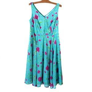 eShakti teal floral fit and flare midi dress